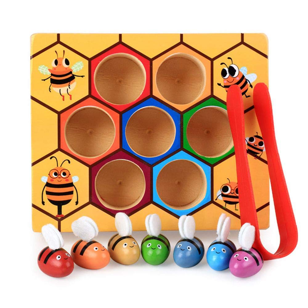 FOONEE Learning Toys for Kids, Bee Picking Toy, Wooden Lovely Bee Picking Toy Catching Practices for Baby Early Educational Toddler Montessori Game Colorful Beehive Box (9pcs/Set)