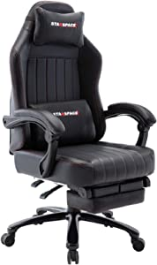 STARSPACE Big & Tall 350lb Video Gaming Chair Massage- Retractable Footrest Metal Base High Back Reclining Racing Executive Computer Desk Office Chair Adjustable Back Angle (Black)