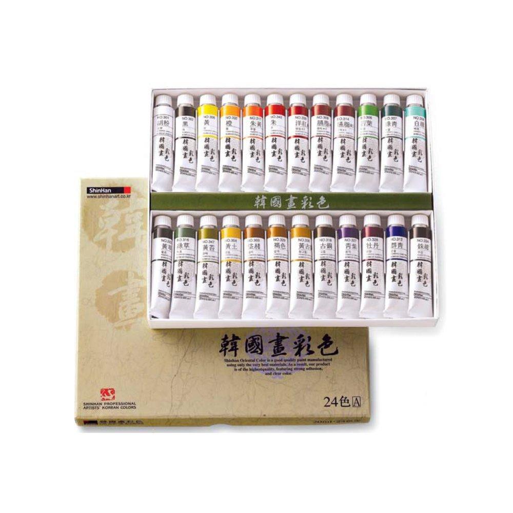 Shinhan Professional Artists' Korean Colors 12,18.24(A,B)Colors 20ml Tube Set (24Colors(A))