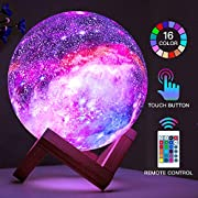 #LightningDeal BRIGHTWORLD Moon Lamp Kids Night Light Galaxy Lamp 5.9 inch 16 Colors LED 3D Star Moon Light with Wood Stand, Remote & Touch Control USB Rechargeable Gift for Baby Girls Boys Birthday
