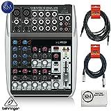 Behringer XENYX Q1002USB / 10-Input / 2 Bus USB Audio Mixer+ 1 x 20ft Structure XLR Cable + 1 x 18.6 ft Strukture Instrument Cable + K&M Micro Fiber Cloth Bundle