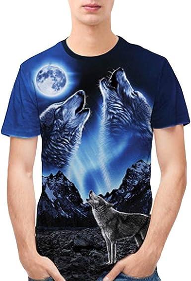 Camiseta para Hombre, Personalidad para Hombre 3D Imprimir Lobo Casual Delgada Camisa de Manga Corta Blusa Superior (M): Amazon.es: Ropa y accesorios