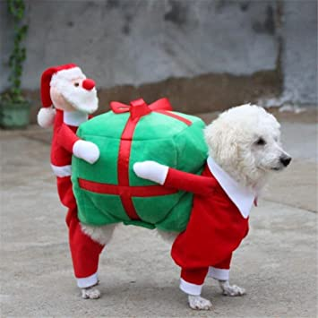 Dog Christmas Costume Pet Christmas Clothes Santa Costume Carrying Gift Box  Coat Fancy Apparel for Dogs - Amazon.com : Dog Christmas Costume Pet Christmas Clothes Santa