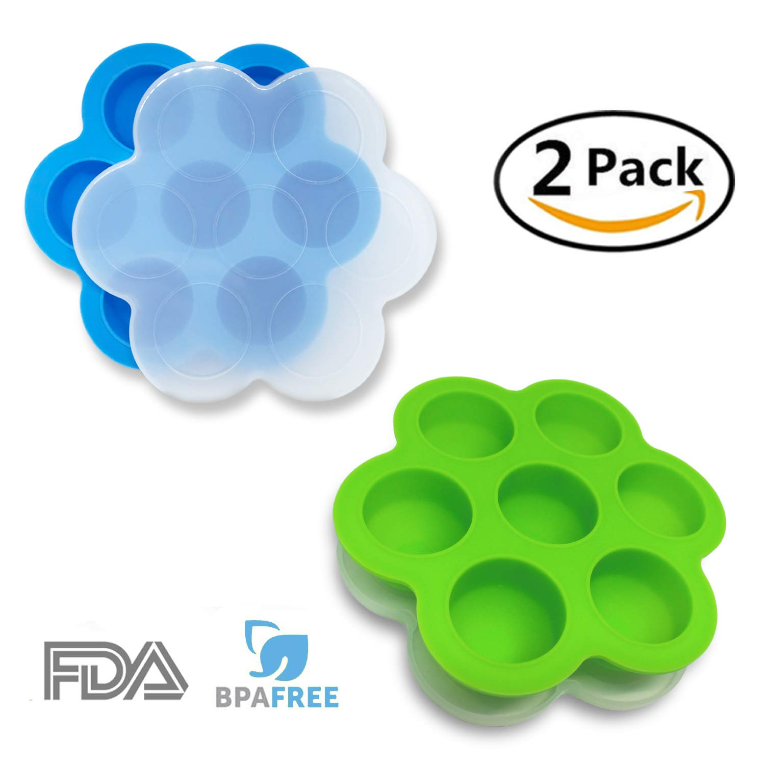 OGGO Silicone Egg Bites Molds For Instant Pot Accessories - Fit Instant Pot 5,6,8 qt Pressure Cooker - Baby Food Freezer Tray with Lid - Reusable Storage Container - 2 Pack