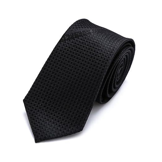 Neckchiefs Corbata Negra Corbata Negra de Seda sólida y Tejido de ...