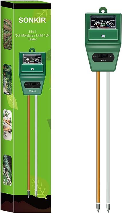 Sonkir Soil pH Meter, MS02 3-in-1 Soil Moisture/Light/pH Tester Gardening Kit