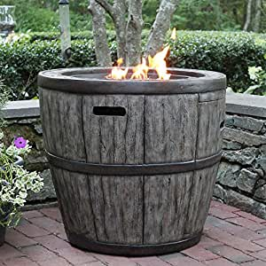 Amazon Com Wine Barrel Propane Fire Table Garden Amp Outdoor
