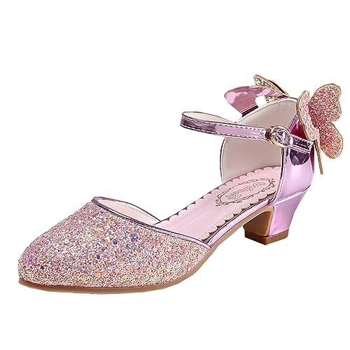 Chicas Princesa Cristal Tacones Sequins Sandalias Vestido De Fiesta (31/ Longitud Interior 19.5cm