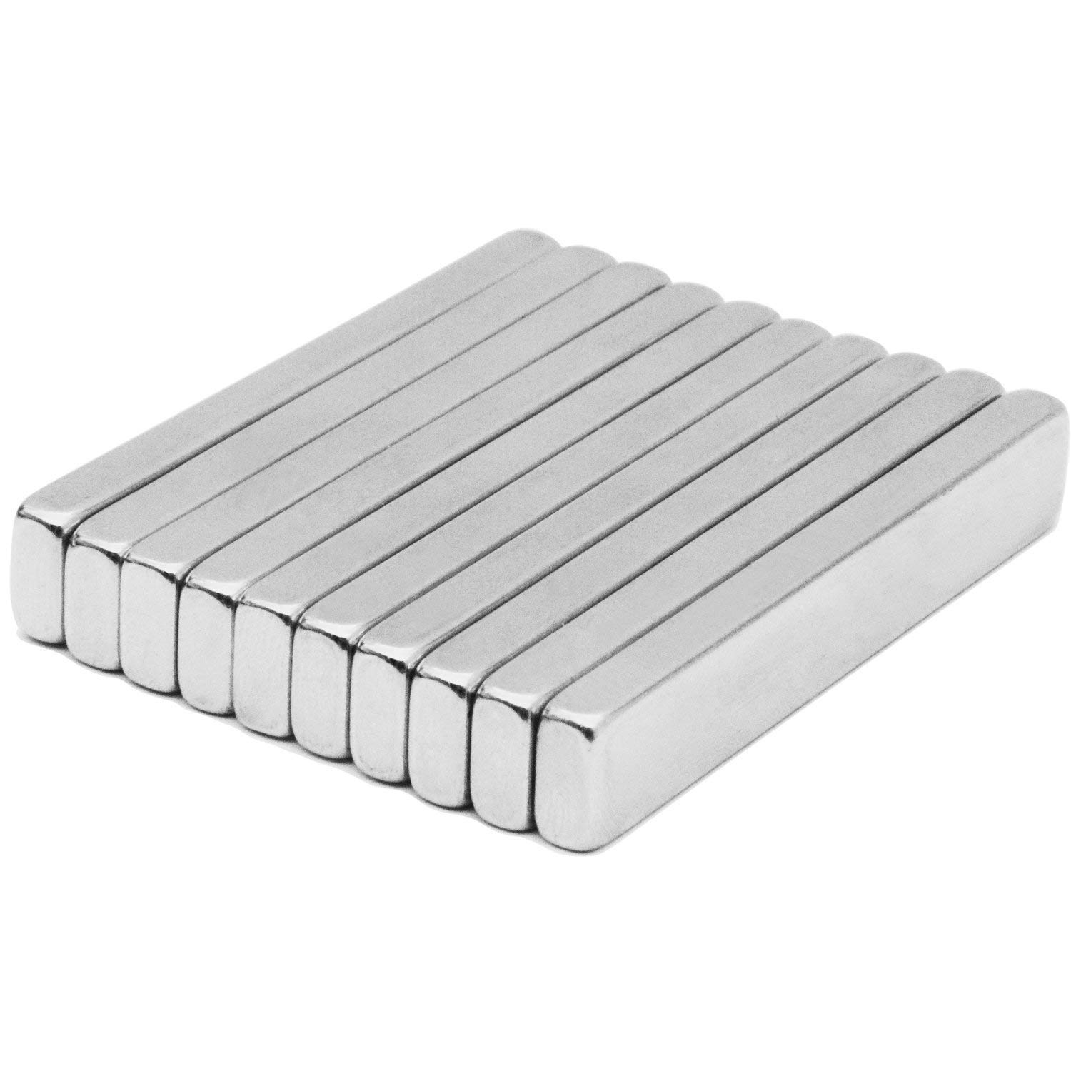 60 x 10 x 5 mm Rare-Earth Metal Neodymium Magnet Pack of 10 Powerful Neodymium Bar Magnets N45 Incredibly Strong 33+ LB Strength