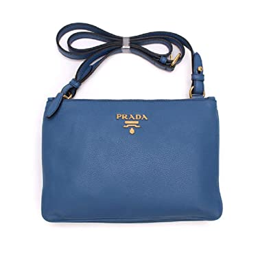 e1fd9865eb5b Prada Women s Royal Blue Vitello Phenix Leather Cross Body Bag Handbag  1BH046  Handbags  Amazon.com