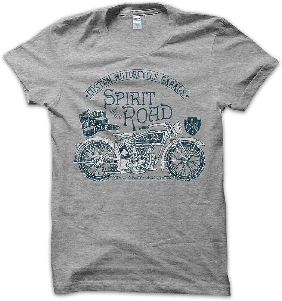 T-ShirtManiak Maglietta Spirit of The Road T-Shirt Monkey Race Genuine Custom Pats Motorcycle Moto Indian Garage Classic USA Vintage Uomo Bianca