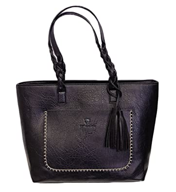 Women s Vintage PU Leather Tote Bags Tassel Large Handbag Fashion Shoulder  Bags (Black) bd70a9593