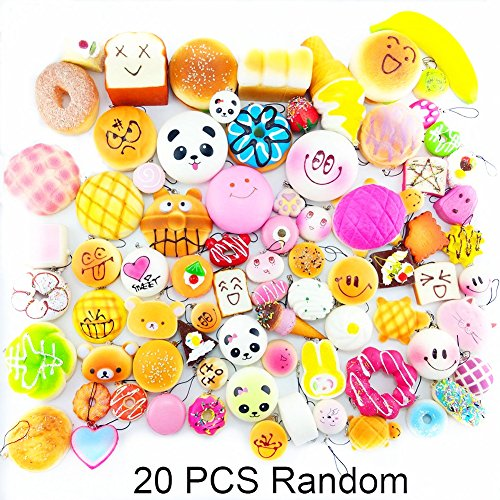 Lelly Q 10/20/30pcs Squishy Food Resin Kawaii Mini Toasts Donuts Bread Etc package Phone Key Chain Strap Charm Kids Toy Gift.(20pcs)