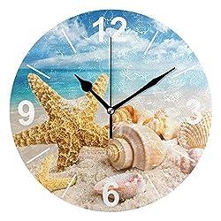 ALAZA Tropical Seashells Ocean Beach Round Acrylic Wall Clock, Silent Non Ticking Oil Painting Home Office School Decorative Clock Art
