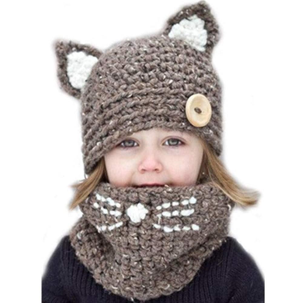 Freesiom Bonnet Echarpe Set Hiver Cagoule Renard Unisexe Bebe Enfant Garcon Fille Mignon Kawaii Chaud Tricote Laine Chapeau Bobs Protection d'oreilles- 2-6 Ans