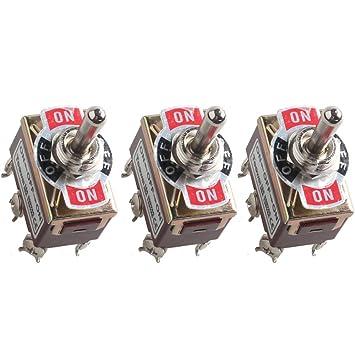 Mintice/™ momentaner KFZ Auto 20A 125V 15A 250V Kippschalter Schalter Wippschalter DPDT 6-Polig EIN//AUS//EIN Metall