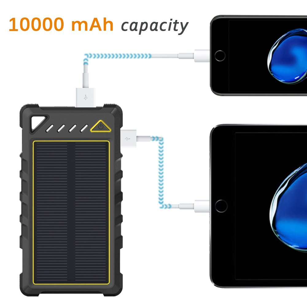 Outdoor Activities Solar Power Bank with Flashlight for Camping BEARTWO 10000mAh Ultra-Compact External batteries with Dual USB Ports Portable Solar Charger