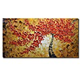 Asdam Art - 100% Hand Painted Paintings Red Maple Tree Pictures Abstract Art Large Wall Art For Living Room Artwork on Canvas Ready To Hang Framed Art For Bedroom Living Room (24X48 inch)