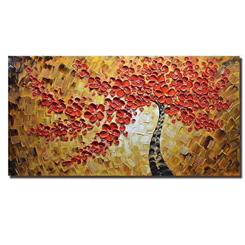Asdam Art -100% Hand Painted Paintings Red Art Work Maple Tree Pictures Abstract Art Large Wall Art For Living Room Artwork on Canvas Ready To Hang Fr…
