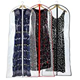 Hangerworld 72'' Long Dress Gown Garment Cover Bags, Pack of 3, Clear with Mixed Color Trims