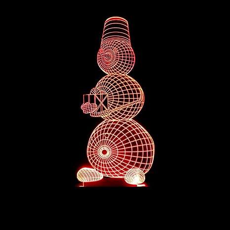 3D Ilusión óptica Lámpara LED Luz Muñeco de nieve de navidad ...