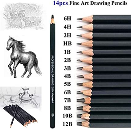Drawing Sketch Pencil Set 14pcs Sketching Pencils 12B 10B 8B 7B 6B 5B 4B 3B 2B B