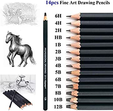 Best Quality 14pcs//set 12B 10B 8B 7B 6B 5B 4B 3B 2B B HB 2H 4H 6H Graphite Sketching Pencils Professional Sketch Pencils Set for Drawing