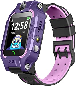 360° Rotation Kids Phone Watch with Dual Cameras Calling,Colorful Touch Screen Waterproof Flashlight Smartwatch with Games Touch Screen Call for Kids Christmas Birthday Gift for Boys Girls … (Purple)