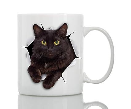 Amazon Com Black Cat Coffee Mug Ceramic 11oz Funny Coffee Mug