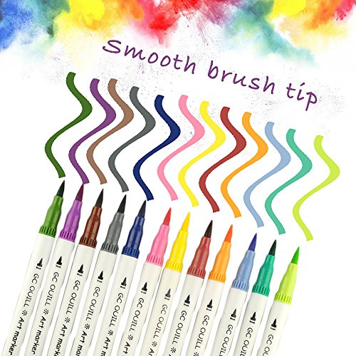 GC 100 Dual Tip Brush Pen Marker Set Flexible Brush & Fineliner Tips - Watercolor Effects - Markers Perfect for Adult Coloring Books, Manga, Calligraphy, Hand Lettering, Bullet Journal Pens by GC Writing Quill (Image #2)