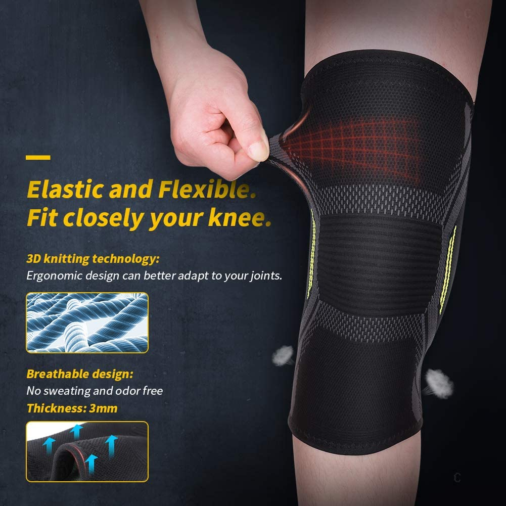 L Knee Support Knee Brace Knee Compression Sleeve 2 Pack of 3D Knitting Elastic Flexible Breathable Anti-Slip Injury Prevention Pain Relief for Men Women MUBYTREE