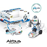 FunBlast Bump & Go Airbus Deformation Toy - Airplane Converting to Robot Toy | Transformer Toy for 3+ Years Old Boys & Girls | Light & Sound Toy for Kids.