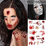 ZLTFashion 10Pcs Halloween Zombie Scars Tattoos With Fake Scab Bloody Bite Mark Costume Makeup Halloween Decoration Terror Wound Scary Blood Injury Sticker (F)