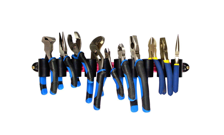 Olsa Tools | Premium Wall Mount Plier Organizer | Red Aluminum + Black Clips | Fits 10 Pliers