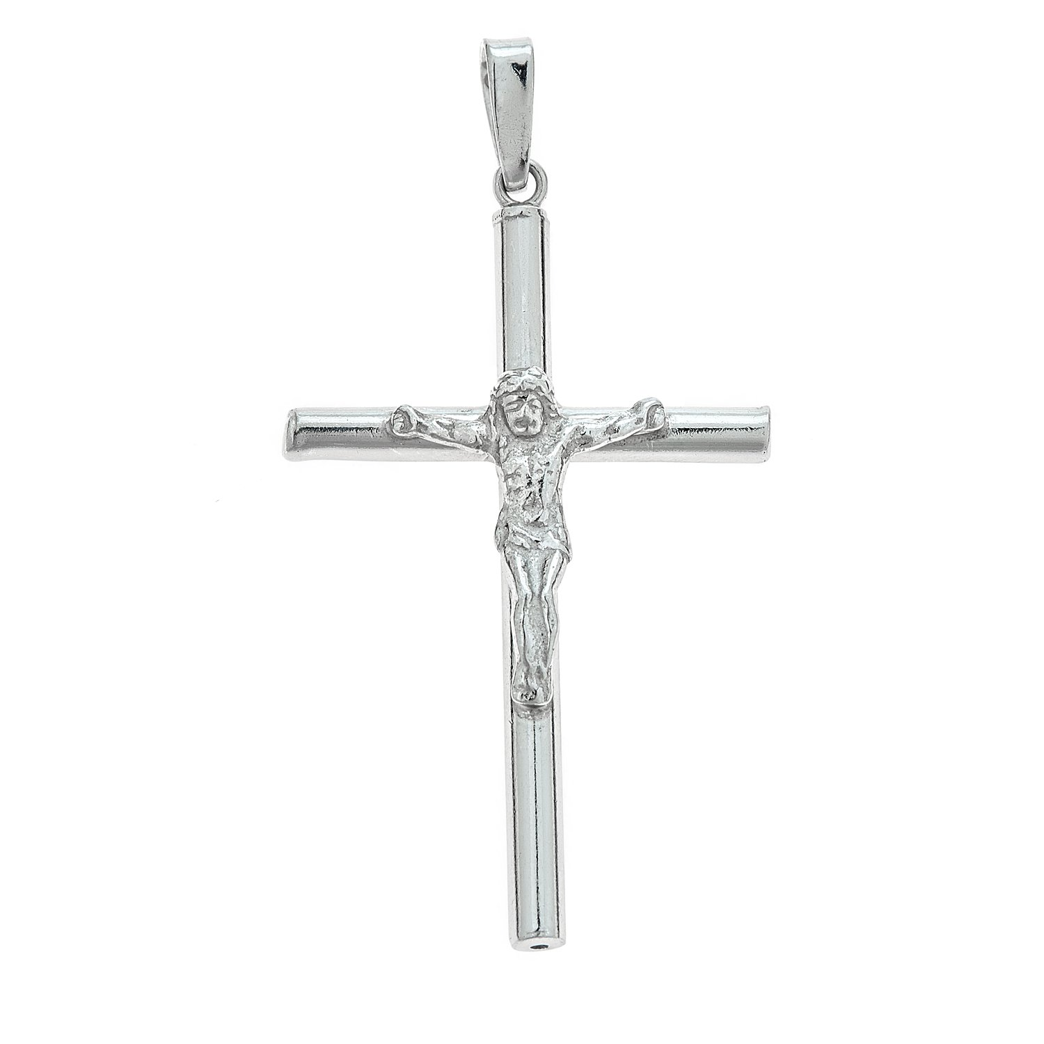 18, 20, 24 Inches Ritastephens Sterling Silver Tubular Shiny Crucifix Cross Pendant Curb Chain Necklace