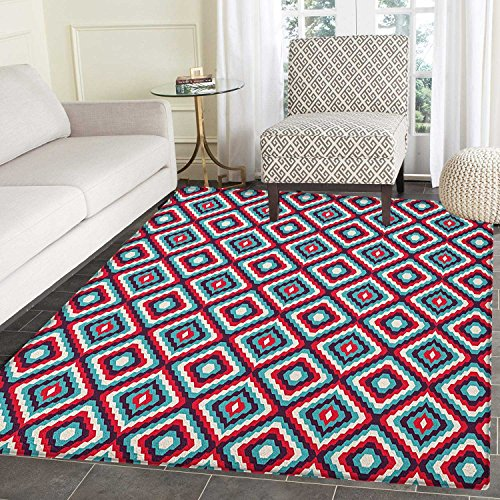 - Retro Rugs for Bedroom Abstract and Geometric Pattern in Retro Style Optical Illusion Mosaic Tile Design Circle Rugs for Living Room 3'x5' Multicolor