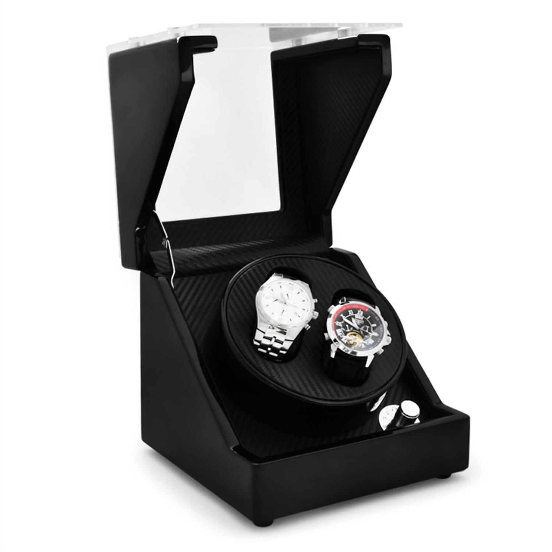 Klarstein CA1PM Uhrenbeweger Uhrendreher Uhrenbox (fÜr 2 Automatikuhren - leise - 4 Bewegungs-Modi - Pianolack-Korpus