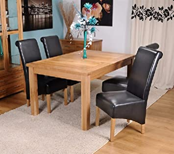 Kelsey Stores Solid Oak Extending Dining Table And Six Bonded Leather  Dining Chairs With Oak Legs