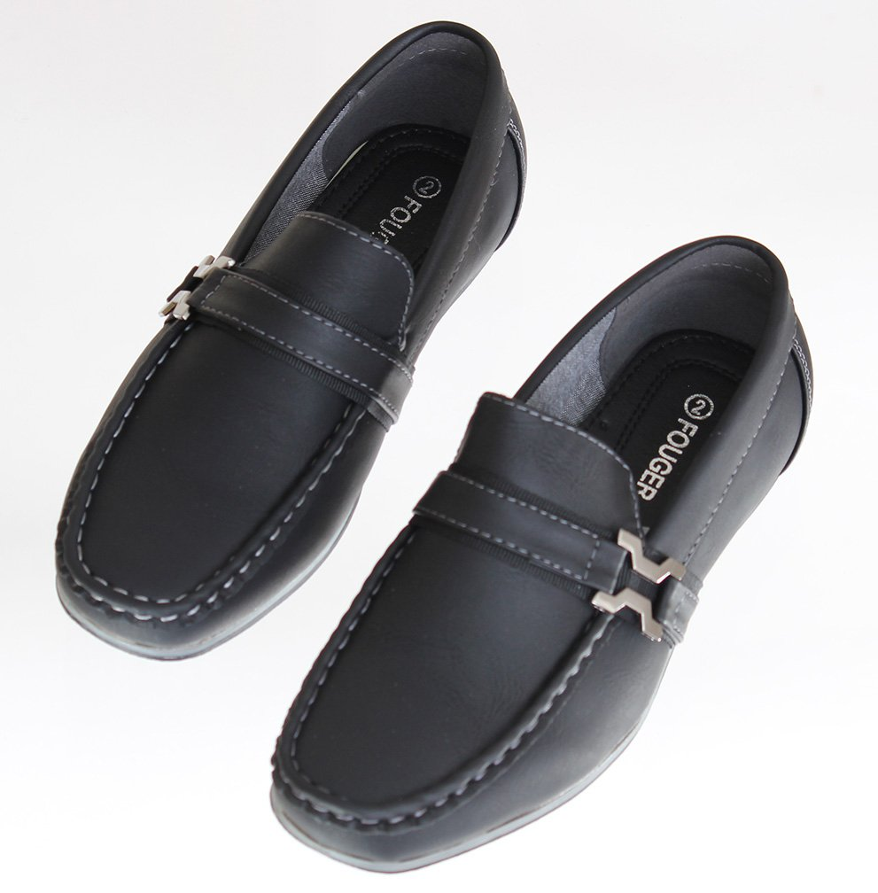 Toddlers / Boys Black Loafers, Slip On Dress Shoe with Buckle Accent