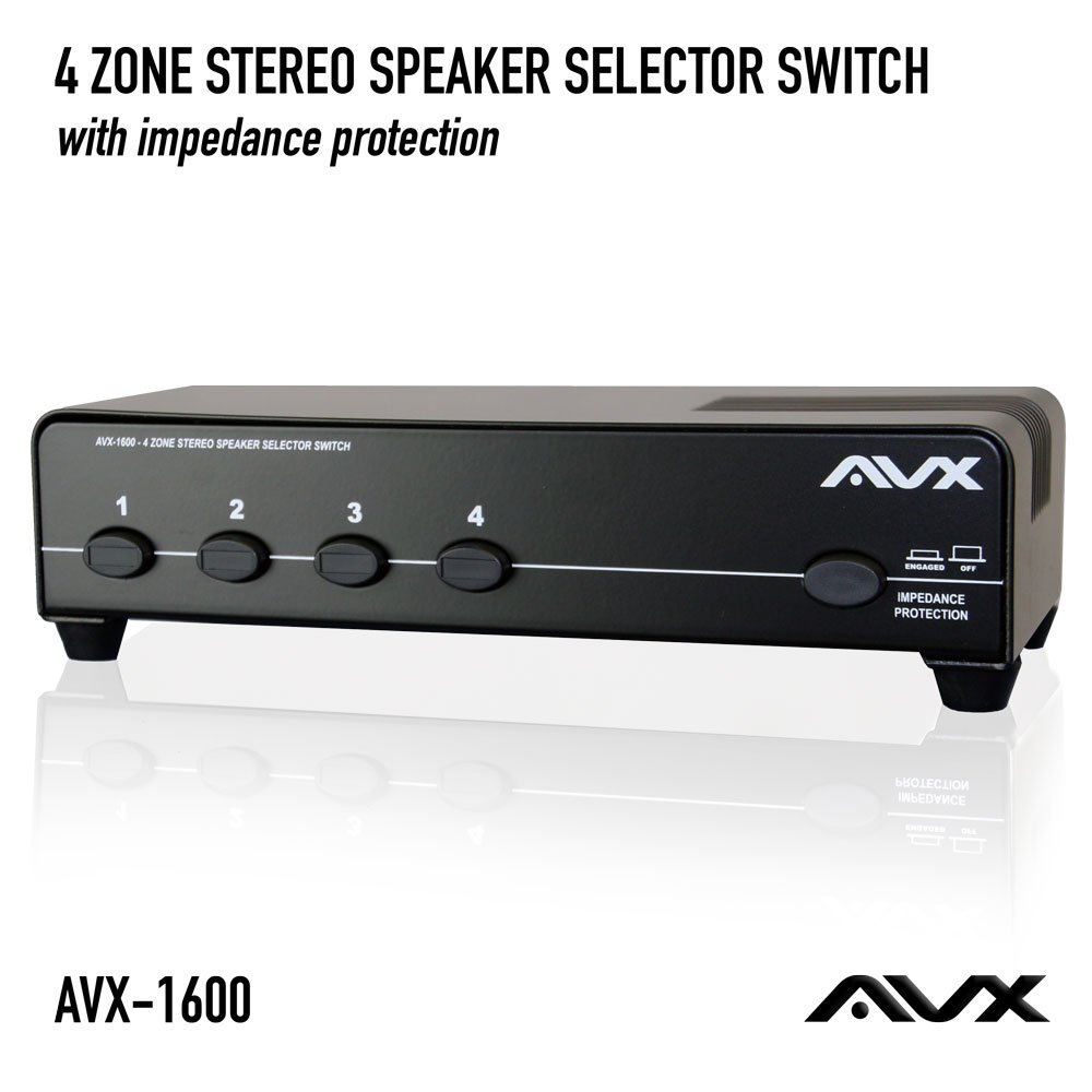 4 Zone Stereo Speaker Selector Switch With Impedance Wiring Outdoor Speakers To Protection By Avx Audio Electronics
