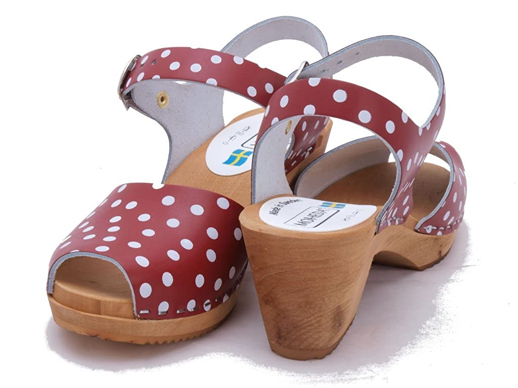 2568fb0fdb Moheda Swedish Clogs   High Heel Open Toe Clogs Moa Red Dots in Leather (US  9