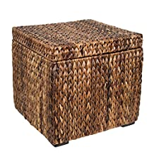 BirdRock Home Seagrass Storage Cube | Easy Access Lid and Lightweight | Woven Storage Box | Floor Box