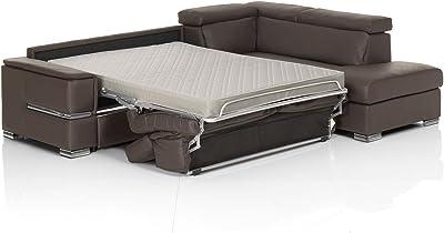 Chiara Full Leather Italian Sectional Sofa Bed Sleeper Right