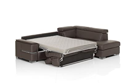 Amazon Com Chiara Full Leather Italian Sectional Sofa Bed Sleeper