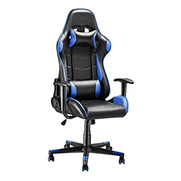 Outstanding Racing Gaming Office Desk Chair Gamers Pc Chair Reclining Swivel Computer Chair Pu Leather Blue Squirreltailoven Fun Painted Chair Ideas Images Squirreltailovenorg