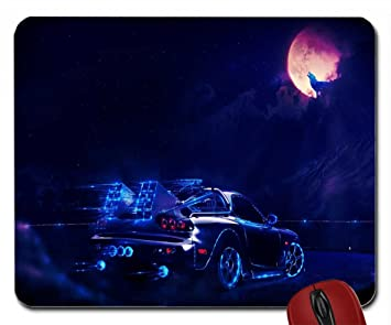 Neon Car Going To The Moon Wolf Wallpaper Mouse Pad Computer