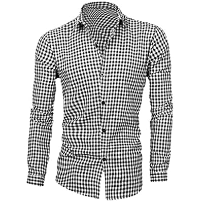 Allegra K Men Single Breasted Long Sleeves Point Collar Plaids Prints Shirts Gingham Check Shirt