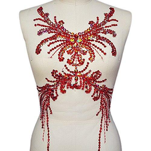 Pure Handmade Sumptuous Exquisite Rhinestones sequins beads Sew on For Dress Delicate Glitter Wedding Applique Trim DIY Accessorie,Chest decoration 28x52cm (red)
