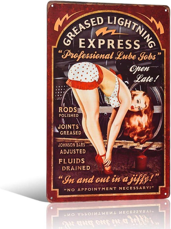 Greased Lightning Pin Up Girl Garage or Man Plaque d/écorative r/étro vintage en m/étal