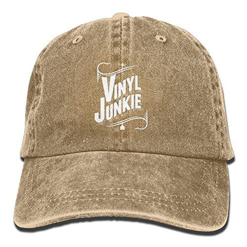 - Erchee Adjustable Cowboy Cotton Ball Hat Vinyl Junkie Denim Baseball Cap Comfortable and Breathable